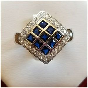 2ct Blue Sapphire Checkerboard Ring Size 8